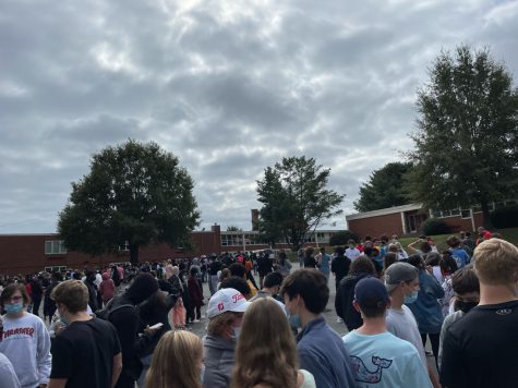 Students evacuated the building after a small fire